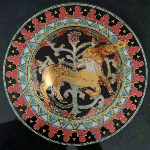 Csodaszarvas mandala, Képzőművészet , Magyar motívumokkal, Festmény, Akril, Meska