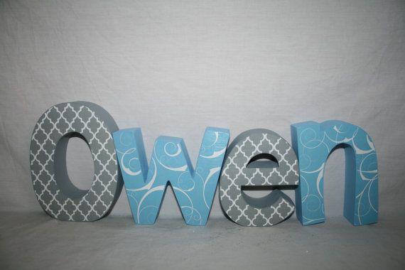 Wooden letters for nursery Nursery letters 12.00 per letter Wood letters Name sign Baby name letters Blue nursery decor Baby shower decor