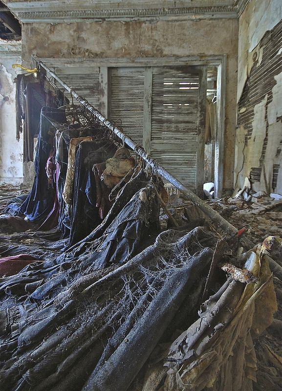 Clothing racks left in the Hurstmont Estate, Harding Township, New Jersey. Source: jgurbisz (flickr)