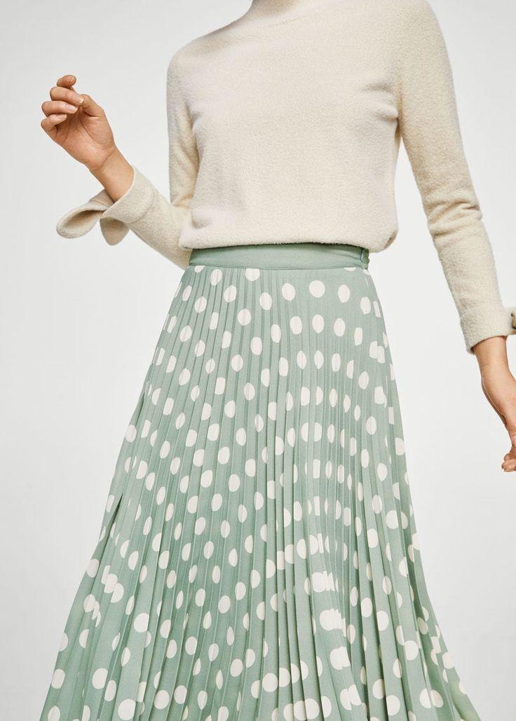 Printed pleated skirt - Women | MANGO USA