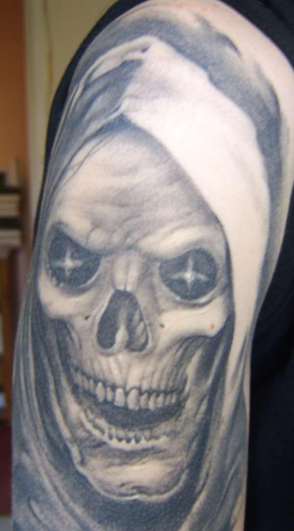 Grim Reaper Skull Face Grim reaper skull tattoo on