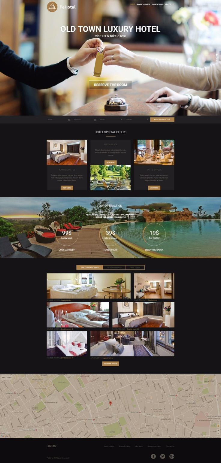 PE Hotel - Hotel WordPress theme Dark color version example.  https://www.pixelemu.com/wordpress-themes/i/9-hotel #hotel #theme #WordPress