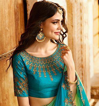 Kanjivaram Silk Human Style Sky Blue Saree - TW185A6 | Indian Silk House Agencies