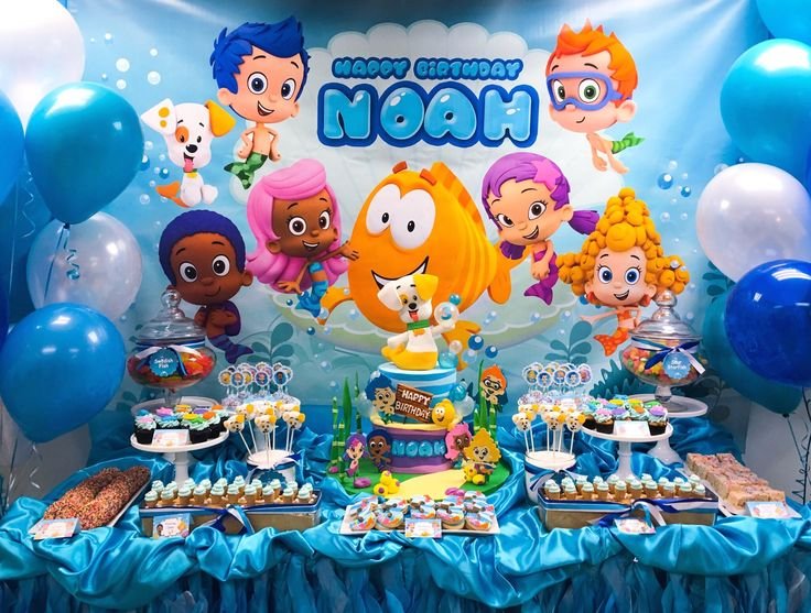 Bubble Guppies Dessert Table #SweetEs #bakeshop #sweetesbakeshop #bubbleguppies…