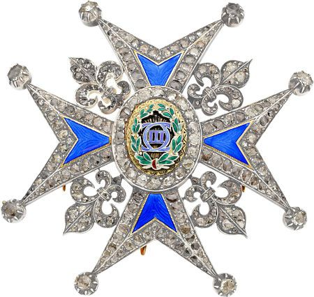Diamond, Enamel, Gold, Silver Commander's Breast Pin of the Order of Charles III, Spain, circa 1773