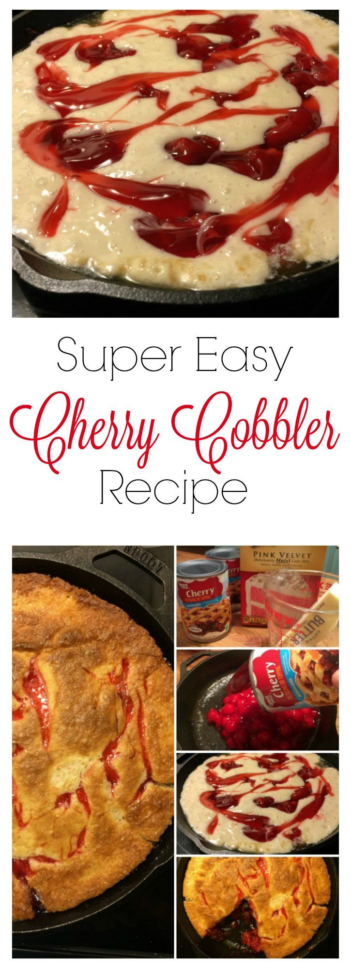 Super Easy Cherry Cobbler Recipe made using a box cake mix and canned cherry pie filling!  So easy and SO YUMMY!  #spon #cansgetyoucooking @cansgetyoucooking iSaveA2Z.com
