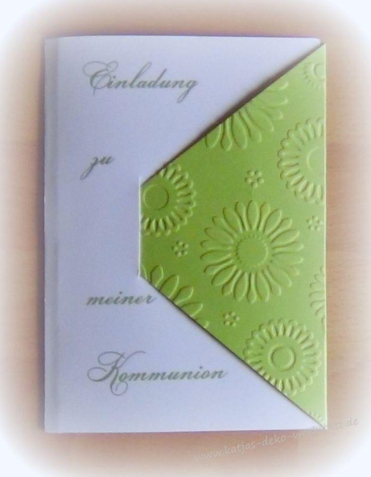 Einladungskarte Kommunion Konfirmation Taufe Firmung Jugendweihe in Umschlagform mit Blumenprägung in grün