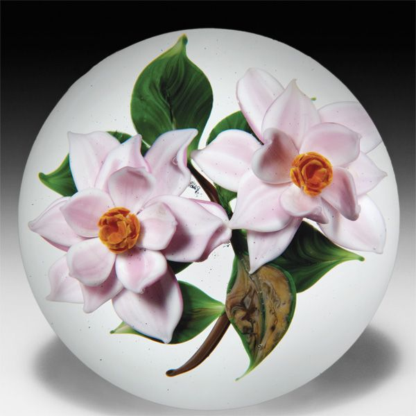 Rick Ayotte 1988 Artist Proof two magnolia blossoms paperweight. by Rick Ayotte