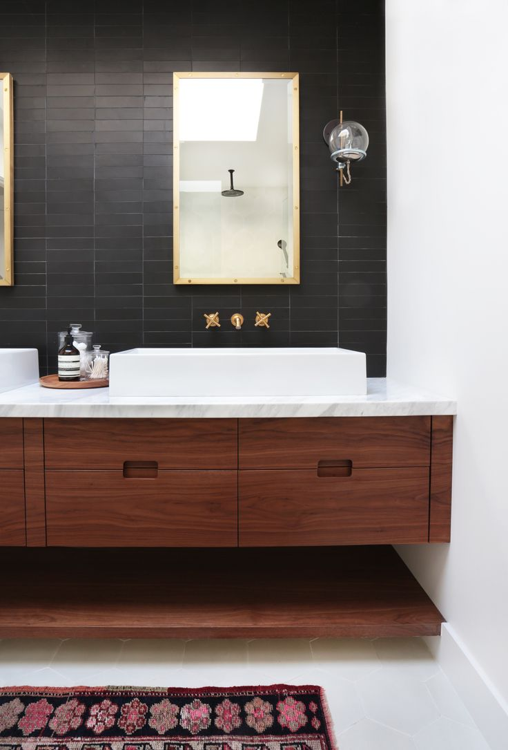 Black Wall Tile In A Master Bathroom, Schoolhouse Electric Orbit Sconce,  Matched Grain Cabinet Fronts