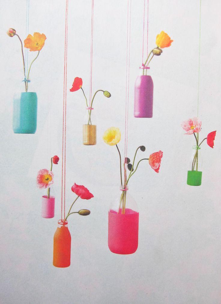 recycled glass bottle vases.
