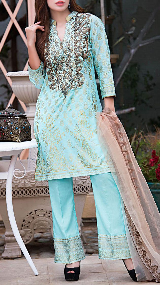 Buy Aqua Embroidered Cotton Lawn Dress by Kalyan 2016