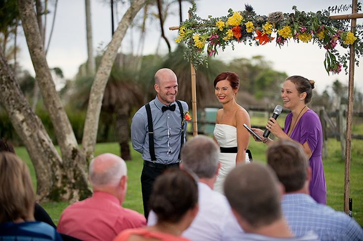 Having a laugh at Kim and Stu's laid back and lovely ceremony up at Byron View Farm. Photo: RIchard Windeyer.