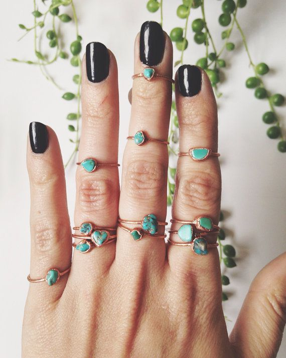 Genuine Natural Turquoise Midi/Stacking Ring by LazuliHandcrafted