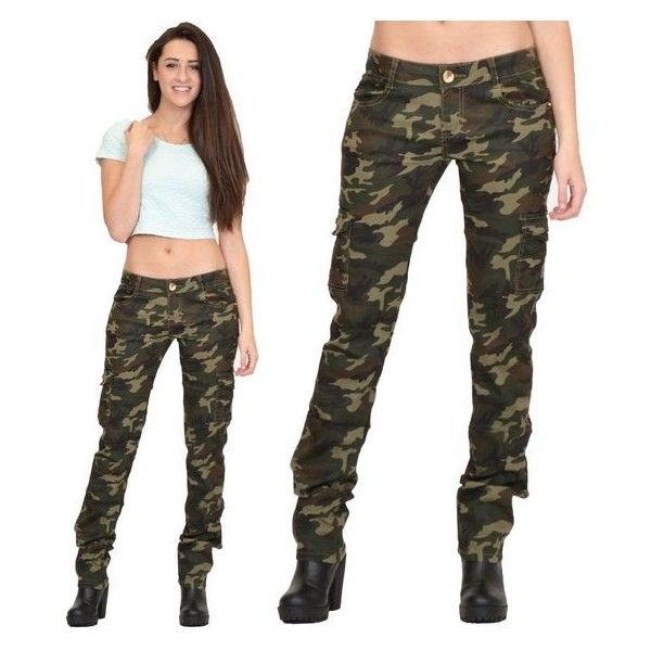 Womens Army Military Green Camouflage Slim Fit Combat Trousers Cargo... ❤ liked on Polyvore featuring pants, camouflage pants, slim fit cargo pants, white pants, olive cargo pants and camo pants