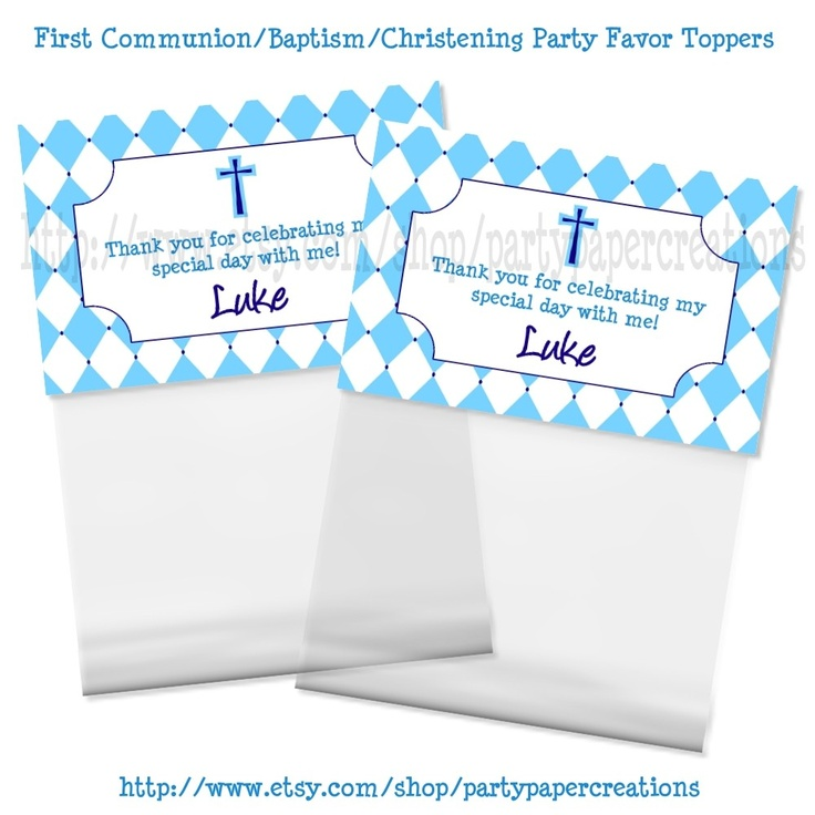 First Holy Communion Baptism Christening Party Favors Hershey Kisses Label Stickers and Treat Bag Toppers Printable PDF Files. $7.95, via Etsy.