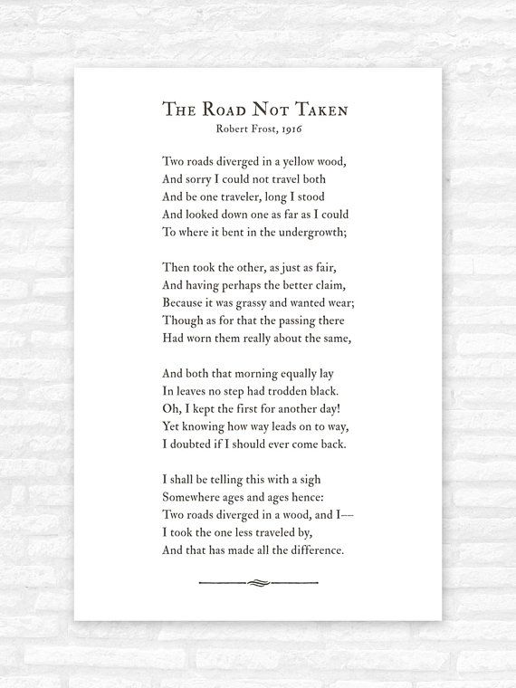 The Road Not Taken Poem Print Road Less Traveled Robert