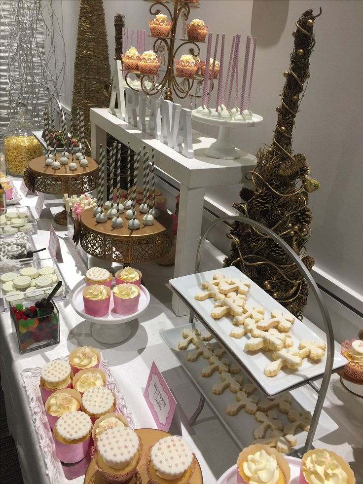 Gold theme baptism sweet candy bar -cupcakes-cake pops-cookies -candy