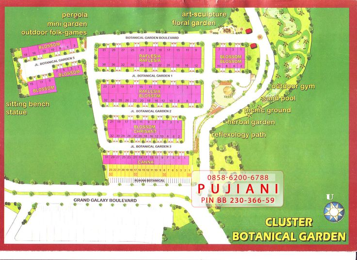 Gambar peta site plan susunan rumah Cluster Botanical Garden Galaxy Bekasi