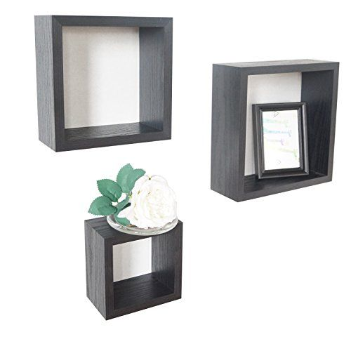 O&K Furniture 3-Piece Black Oak Square Cube Wall Shelves 5.9 Inch 7.8 Inch 9.84 Inch