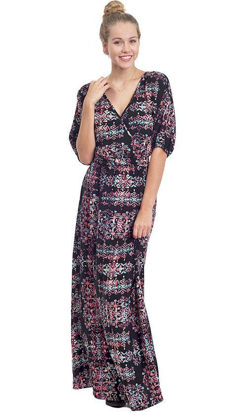 Bohemian Babe Printed Wrap Maxi Dress
