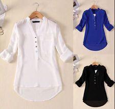 Blusa de Moda para Mujer de Verano Suelto Mangas Largas Camisa Prendas para el torso Blusa de gasa casual