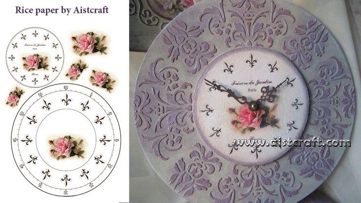 Декупаж - изготовление часов в стиле Прованс с использованием текстурной...