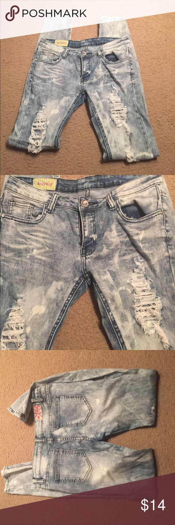 Distressed Ripped Jeans Great condition only worn once washed distressed look Jeans Straight Leg