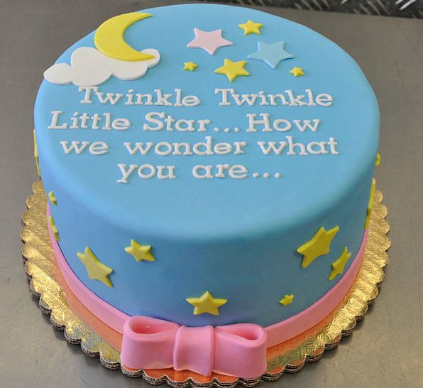twinkle star baby reveal -this is what we had written on our cake! It wasn't quite that beautiful.