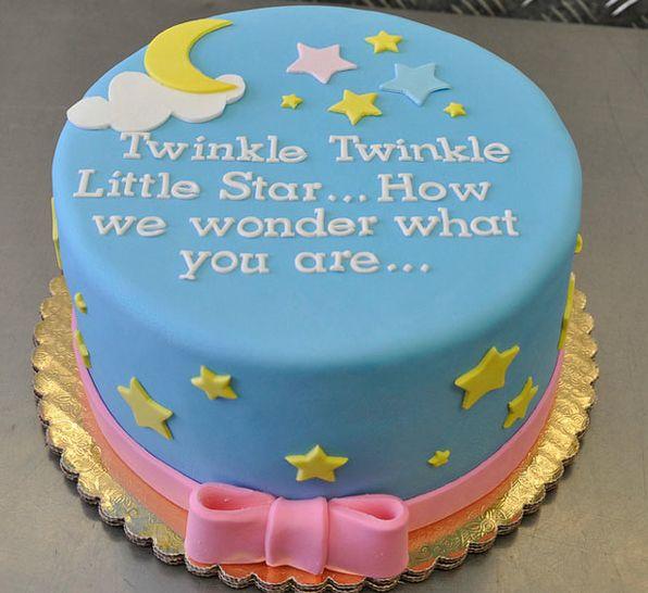 Twinkle twinkle gender reveal cake