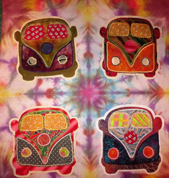 ONE-Patchwork VW Bus Fabric Sew On Patches Grateful Dead Hippie Images Handmade