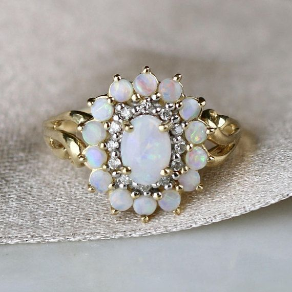 Vintage 0.93ctw Opal & Diamond Halo Ring 14k Yellow Gold #YellowGoldJewellery