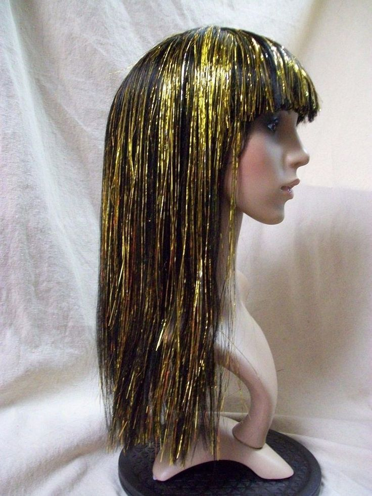 Metallic Gold Cleopatra Wig Egyptian Queen of Nile Ancient Mummy Princess Egypt  | eBay