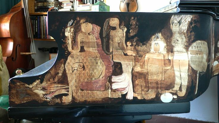 Painting on the side of a piano
