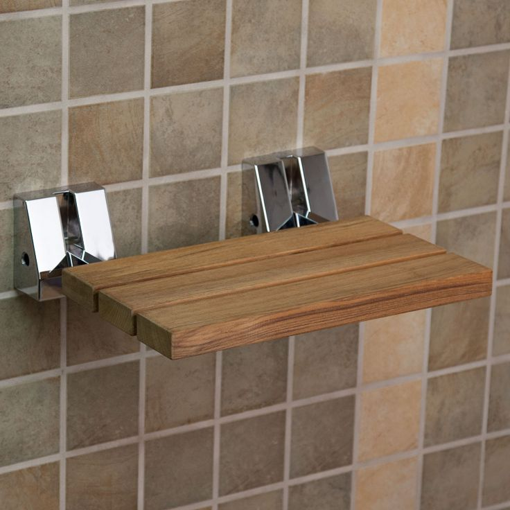 250 Lbs Wall Mount Teak Folding Shower Seat Signature Hardware Bath Remodel Pinterest