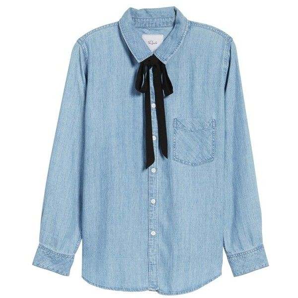 Women's Rails Jansen Tie Shirt (€135) ❤ liked on Polyvore featuring tops, slouchy shirts, slouchy tops, blue shirt, shirt top and blue top