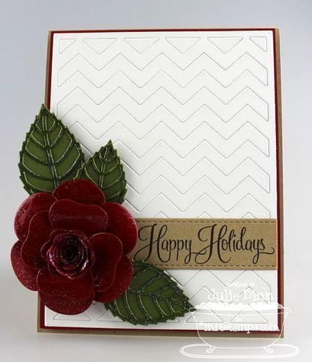 card Hybrid Camellia Flower Die-namics, Layered Leaves Die-namics, MFT Chevron Cover-Up Die-namics, Blueprints 3 Die-namics, Holiday Botanicals - Julie Dinn #mftstamps