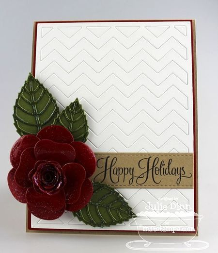 card Hybrid Camellia Flower Die-namics, Layered Leaves Die-namics, MFT Chevron Cover-Up Die-namics, Blueprints 3 Die-namics, Holiday Botanicals - Julie Dinn #mftstamps