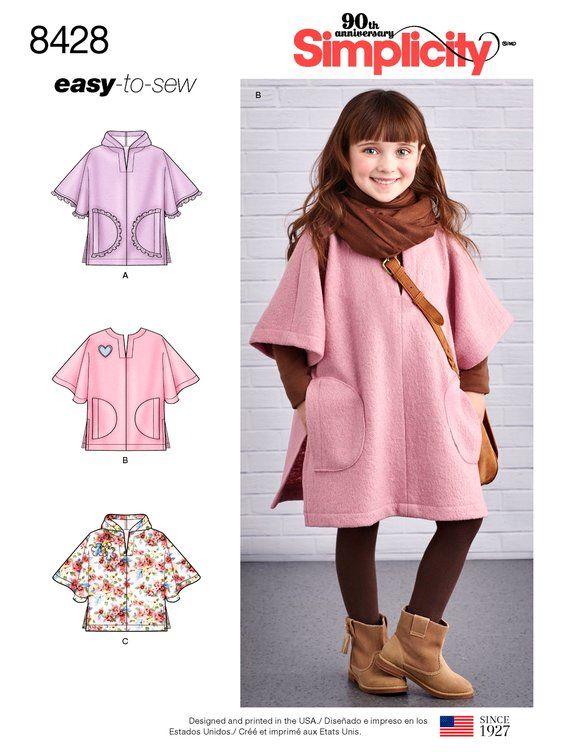 Girls' Poncho Pattern, Girls' Fleece Poncho Pattern, Hooded