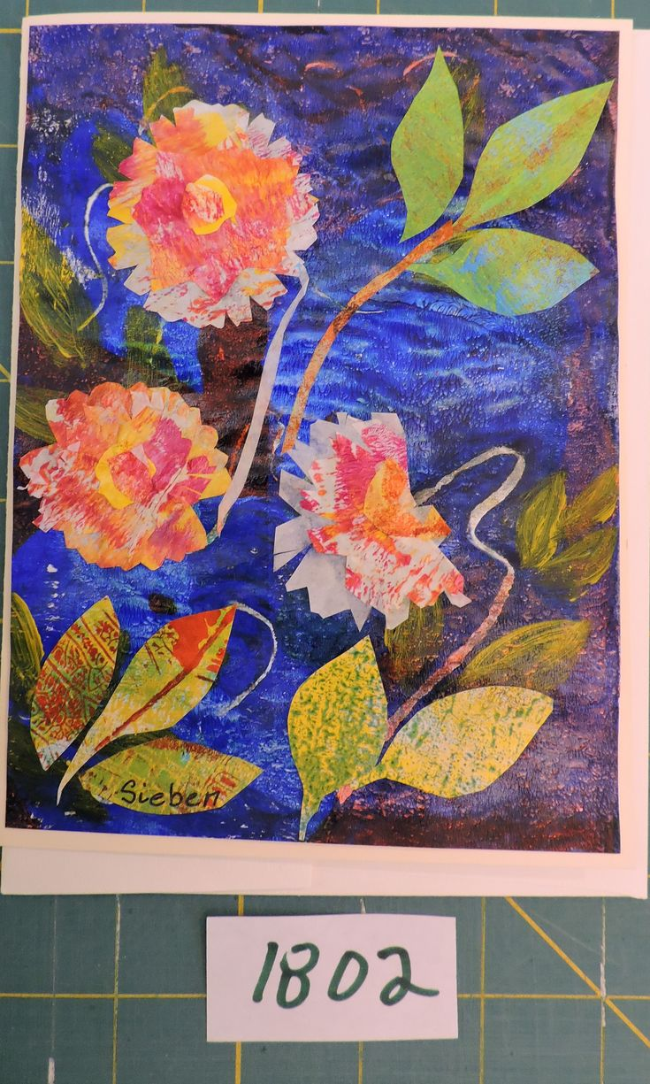 Collage on gelli print.  From my daily paintings card collection.