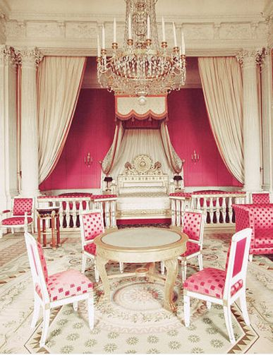 What if we had this set up at the corporate headquarters???    Versailles Princess Room. Marie Antoinette. Fuchsia Pink White Gold. Rococo.