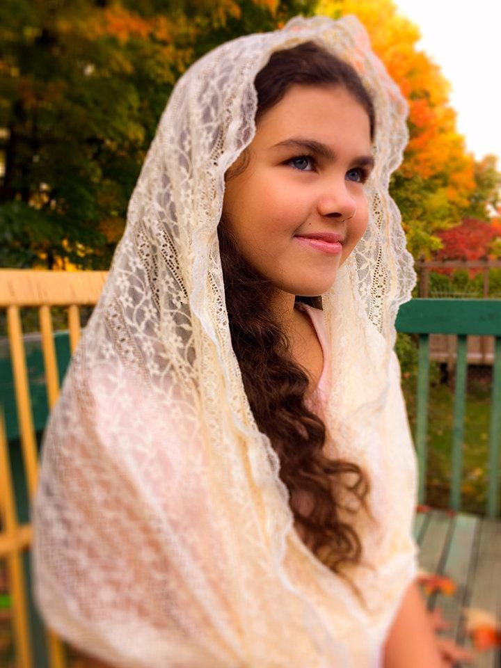 Infinity Mantilla, Cream Lace Chapel Veil Catholic, Catholic Veil, Church Veils, Catholic Mantillas, Chapel Mantilla, Chapel Scarf Veil