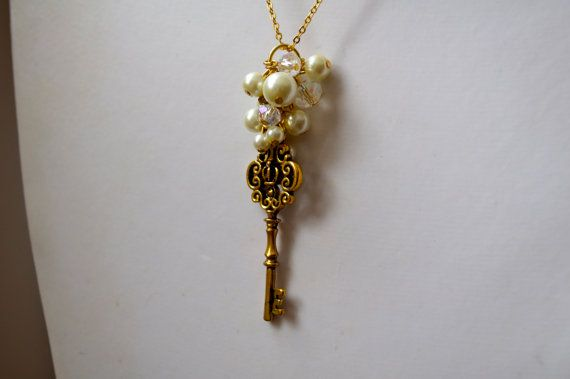 On Sale  Glass Pearl Cluster Necklace with Key Pendant by dgowin, $19.00