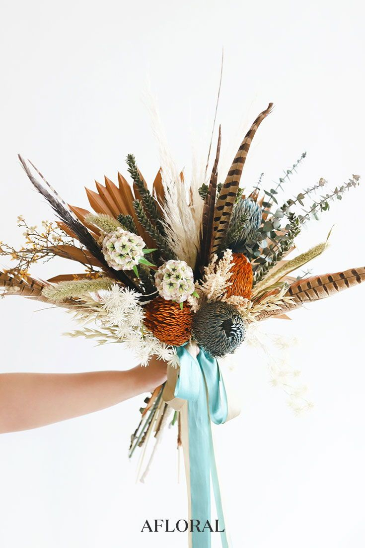 Fall Flower Bouquet Filled With Dried Protea Pheasant Feathers Terracotta Sun Palms Eucalyptus A Dried Flower Bouquet Feather Bouquet Wedding Dried Bouquet
