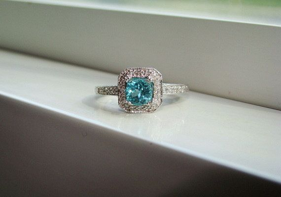 Antique Halo Teal Apatite Diamond Ring Gemstone Engagement