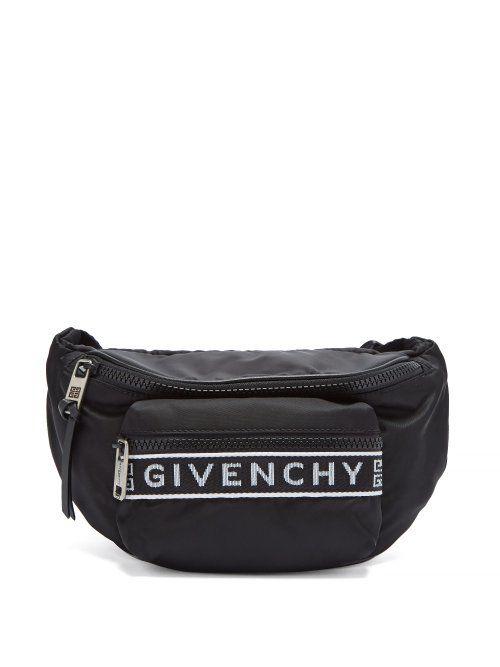488354c638 GIVENCHY GIVENCHY - LOGO JACQUARD NYLON BELT BAG - MENS - BLACK WHITE.   givenchy  bags  belt bags  canvas  nylon