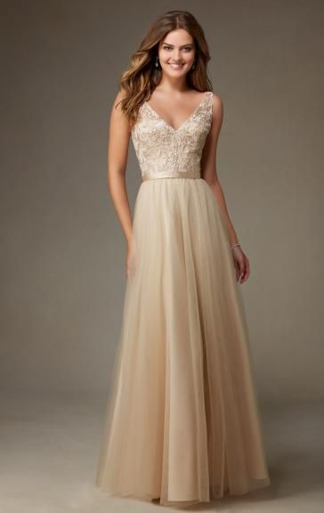 Champagne colored long bridesmaid dresses