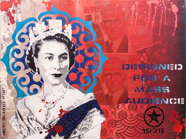 Original artwork - paper collage and spray paint on wood. Copyright Brad Novak