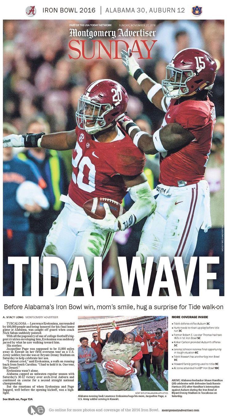 Iron Bowl 2016 Headlines from Sunday Nov. 27, 2016 - Montgomery Advertiser