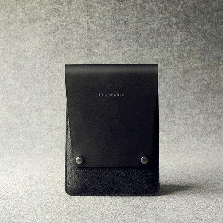 Leather iPad Mini Sleeve (Black & Charcoal Grey) by Charbonize, $79 !!