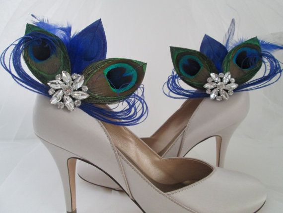PEACOCK Wedding Shoe Clips Royal Blue by NakedOrchidGarters
